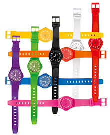 Set of coloured wrist watches
