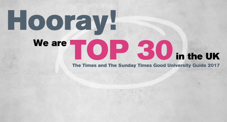 Graphic saying we are Top 30 in the Times Good University Guide