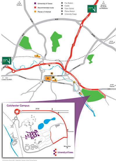 Map of Colchester & University of Essex