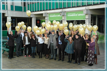 Students' Union staff and guests released gold balloons to celebrate their Gold award