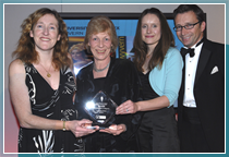 Jenny Grinter and Kate Clayton receive the award from Pat Gaudin of the CIPR and Alex Dunlop from BBC Look East