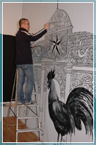 Sun Xun at work in the University Gallery