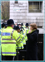 Police at a protest in London