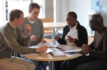 Group of students discussing ideas