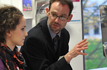 Careers adviser working with a student