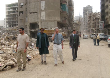 Professor Paul Hunt of the Human Rights Centre (2nd on the right) visits war-torn Lebanon