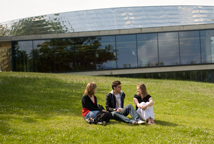 Students on a grassy hill