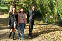 Students walking around the lakes