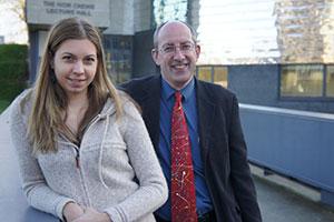 Professor Geoff Gilbert with Essex graduate Anna Magdalena Ruesch